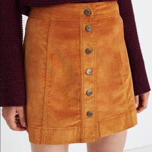 Madewell Chestnut Brown Velvet Mini Button Skirt